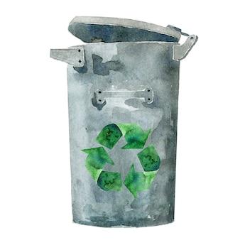 Lata de lixo de metal