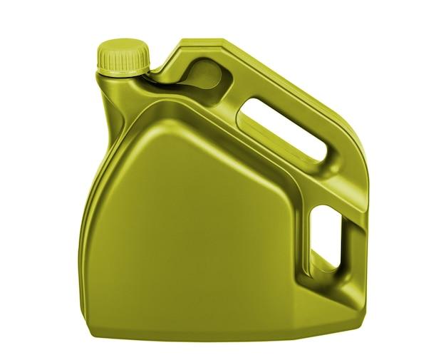 Lata de óleo lubrificante de plástico isolada em fundo branco