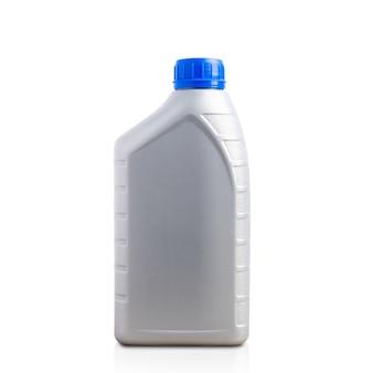 Lata de plástico cinza com garrafa de óleo lubrificante de 1 litro