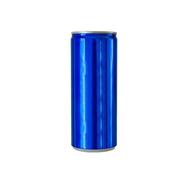 Lata de refrigerante de alumínio de cor azul, isolada no fundo branco com traçado de recorte