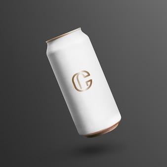 Lata de refrigerante flutuante com logotipo e espaço de cópia