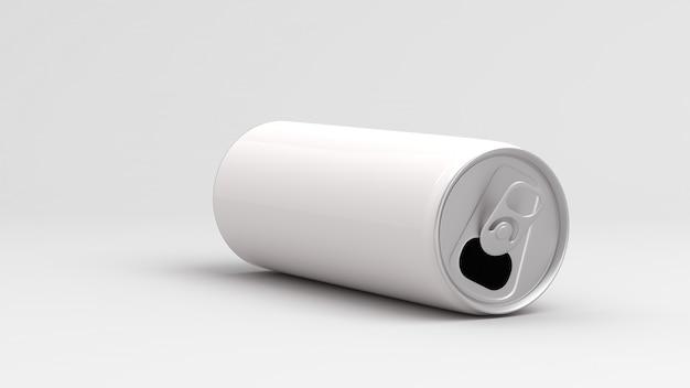 Lata vazia branca no fundo branco 3d rendem