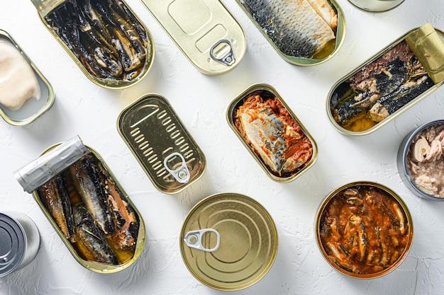 Latas abertas com diferentes tipos de peixes e frutos do mar, latas abertas e fechadas