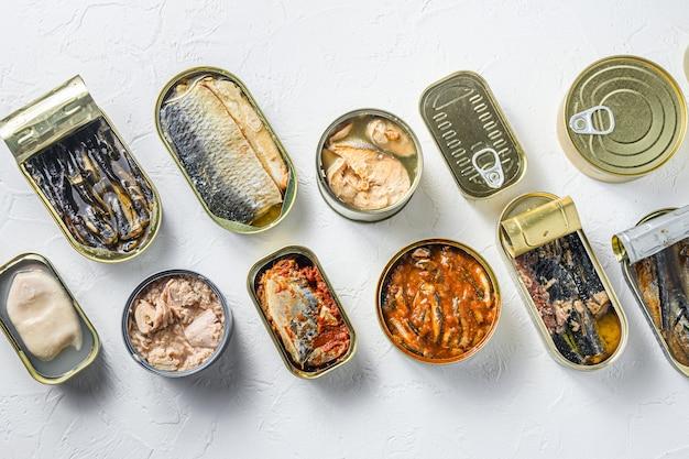 Latas com diferentes conservas de peixes e conservas de frutos do mar, latas abertas e fechadas