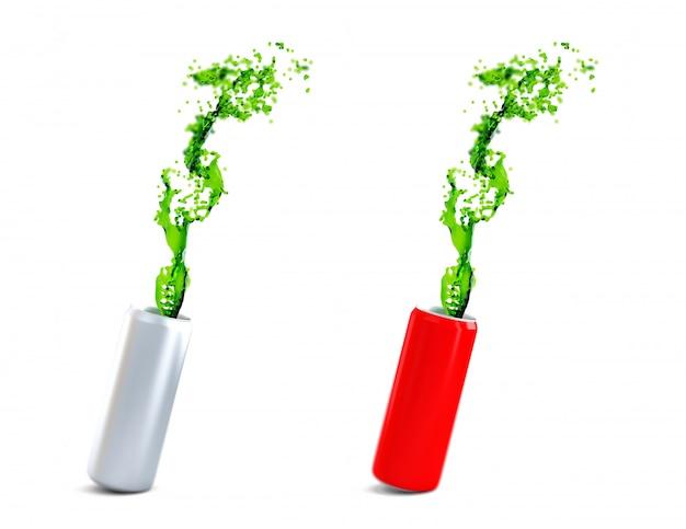 Latas de alumínio branco e vermelho com bebida energética