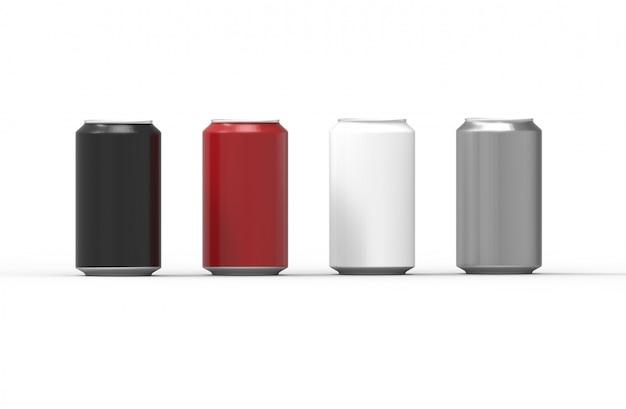 Latas de alumínio de cor isoladas no fundo branco