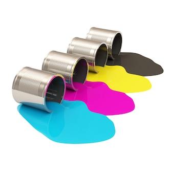 Latas de tinta derramadas em cores isoladas em branco