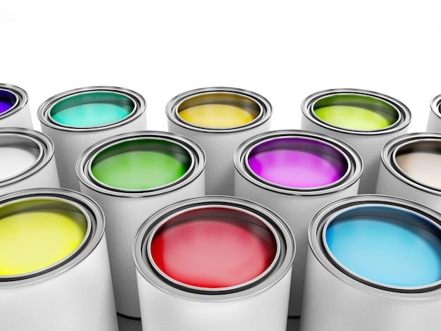 Latas de tinta multicoloridas renderizadas em 3d