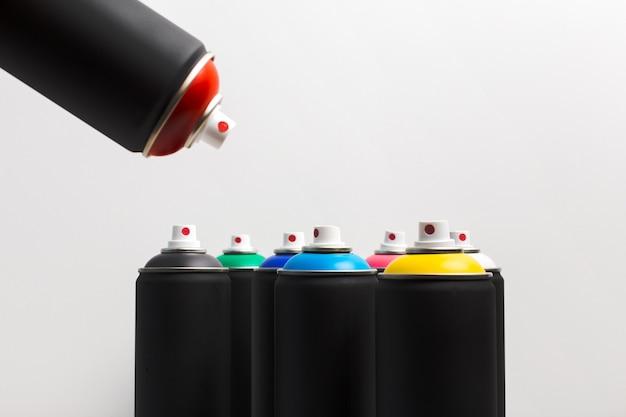 Latas de tinta spray close-up