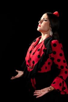 Lateralmente, flamenca, dançarino, olhar