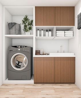 Lavanderia de madeira de renderização 3d com máquina de lavar roupa