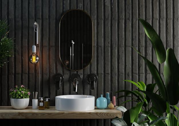 Lavatório com design interior de banheiro moderno em parede de cor escura, renderização em 3d