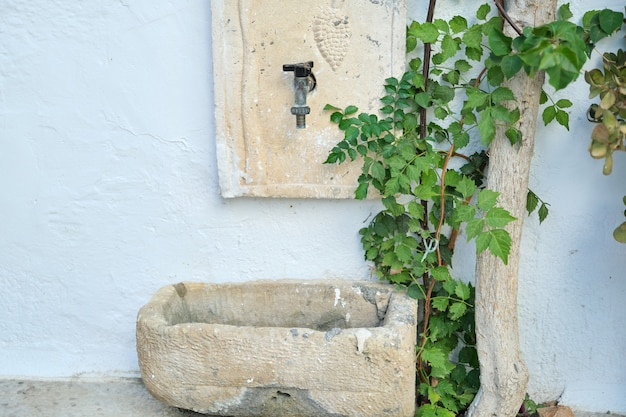 Lavatório de pedra ao ar livre, área de relaxamento, parede de pedra decorada com planta verde.