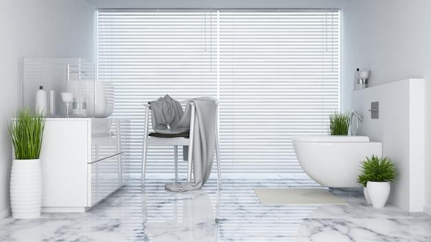 Lavatório em tom branco - renderização em 3d