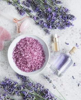 Lavender spa óleos essenciais sal marinho