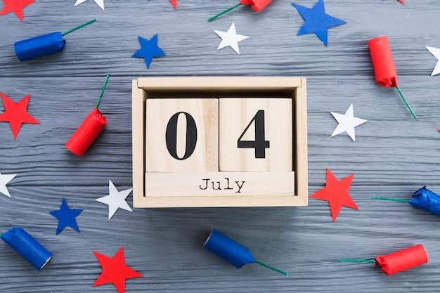 Lay plana de 4 de quadro de julho