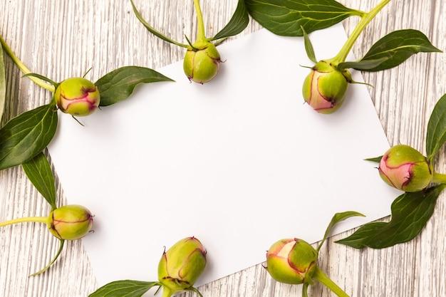 Layout criativo com flores, folhas e cópia espaço cartão nota.