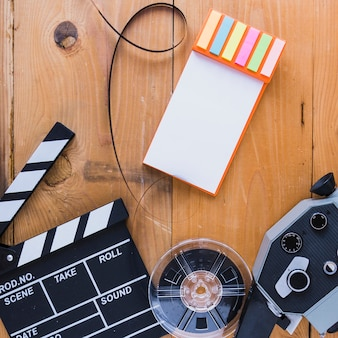 Layout criativo de acessórios de cinema