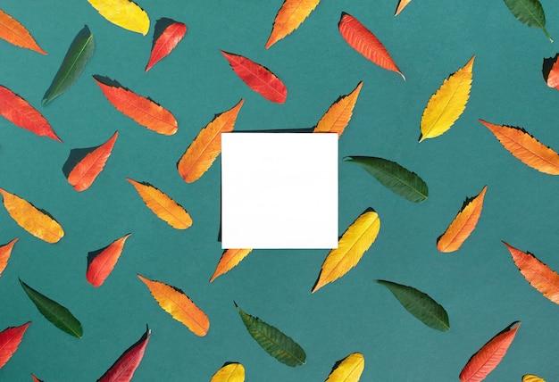 Layout criativo de folhas de outono coloridas em fundo verde jade com cartão de papel branco para espaço de cópia. as estações mudam o conceito.