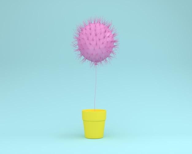 Layout criativo de rosa cacto flutuante com vaso de flores sobre fundo azul