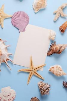 Layout criativo feito de conchas coloridas diferentes e cartão