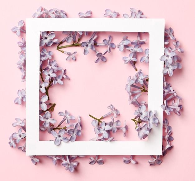 Layout criativo feito de flores lilás da primavera em um fundo rosa. conceito de férias mínimo. padrão de configuração plana.