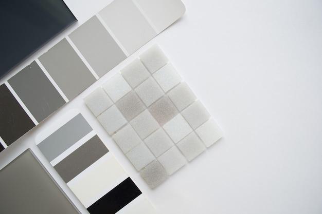 Layout de amostras de materiais, seleção de materiais, vista superior