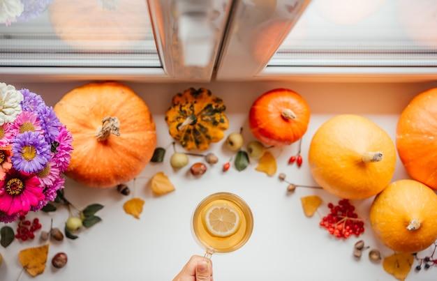 Layout de outono com uma xícara de chá de limão e abóboras