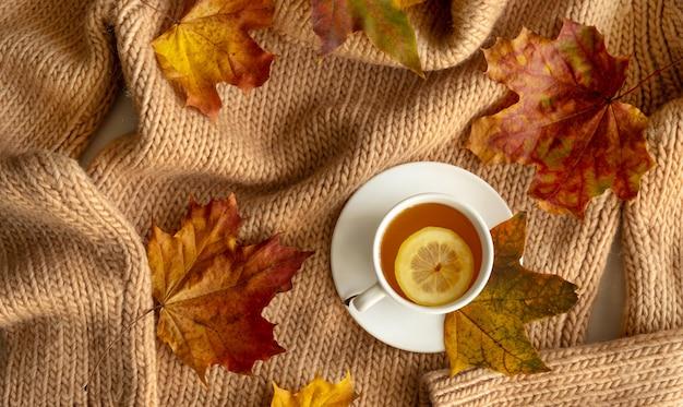 Layout de outono. folhas brilhantes caídas e uma xícara de chá quente com limão em um fundo de malha. vista do topo