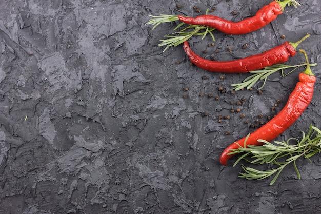 Layout de pimentas com espaço de cópia