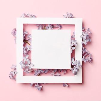 Layout de quadro criativo feito de flores lilás da primavera em um fundo rosa. conceito de férias mínimo. padrão de configuração plana.