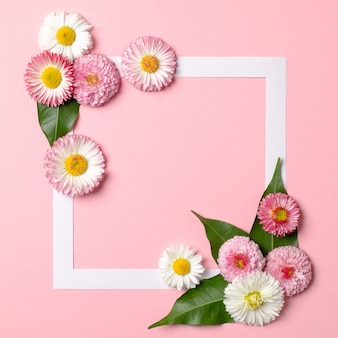 Layout minimalista feito de borda de quadro de papel e flores de primavera concurso em fundo rosa pastel.