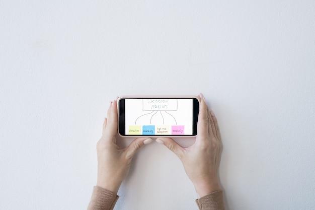 Layout plano das mãos da empresária segurando o smartphone com fluxograma de tomada de decisão sobre a mesa