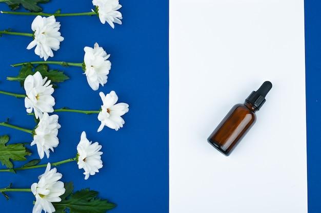 Layout plano feito com produtos de cuidados da pele à base de plantas e flores na mesa azul. medicina alternativa saudável. vista do topo