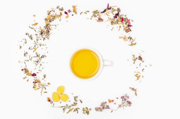 Layout plano leigo da xícara de chá verde com variedade de diferentes folhas de chá seco e gengibre