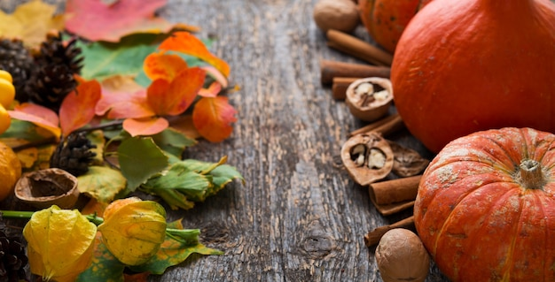 Legumes de outono, folhas caídas, nozes e abóboras na mesa de madeira