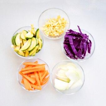 Legumes em taças