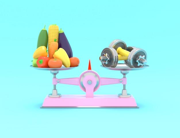 Legumes frescos e halteres em diferentes escalas
