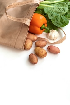 Legumes frescos orgânicos em sacos de tecido de algodão eco.
