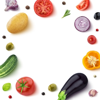 Legumes isolados no branco com moldura redonda de vegetal com espaço vazio para o texto