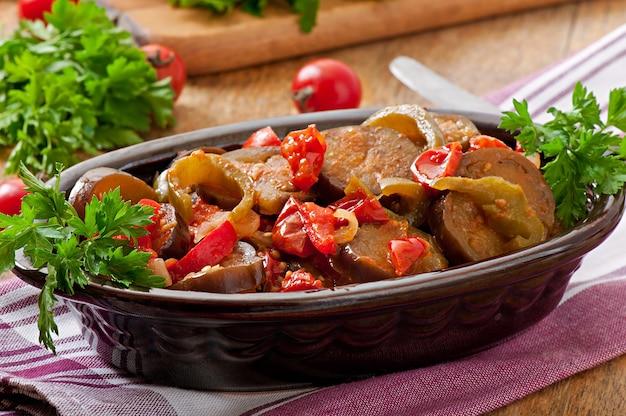 Legumes no vapor - berinjela, pimentão e tomate