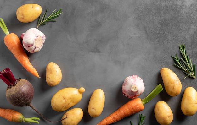 Legumes orgânicos frescos em fundo cinza