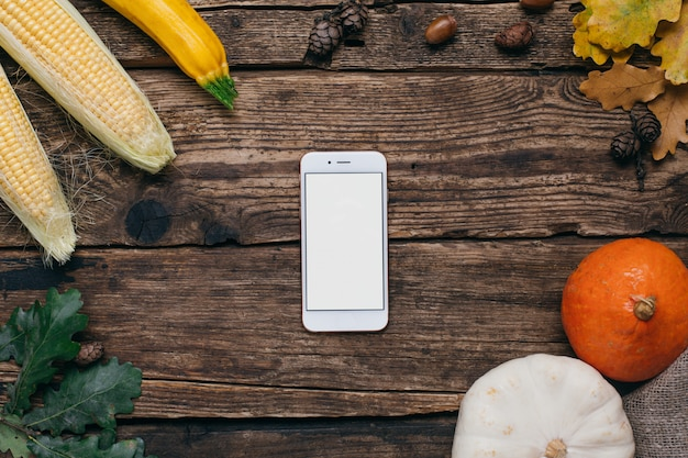 Legumes outono: telefone móvel, com, branca, vazio, tela, abóboras, e, milho, com, amarela sai, ligado, madeira