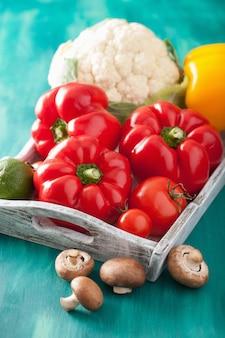 Legumes tomate pimenta cogumelo couve-flor