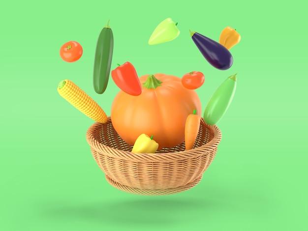 Legumes voando sobre uma cesta em verde
