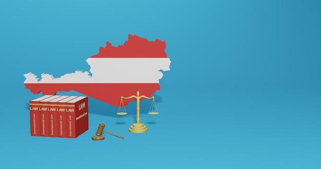 Lei austríaca para infográficos e conteúdo de mídia social em renderização 3d