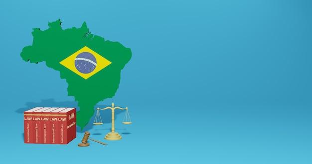 Lei brasileira para infográficos, conteúdo de mídia social em renderização 3d