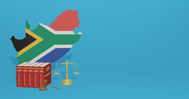 Lei da áfrica do sul para infográficos e conteúdo de mídia social em renderização 3d
