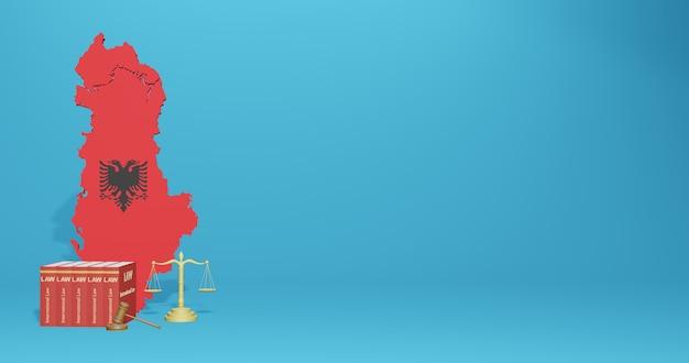 Lei da albânia para infográficos e conteúdo de mídia social em renderização 3d