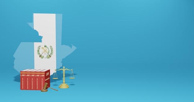 Lei da guatemala para infográficos e conteúdo de mídia social em renderização 3d